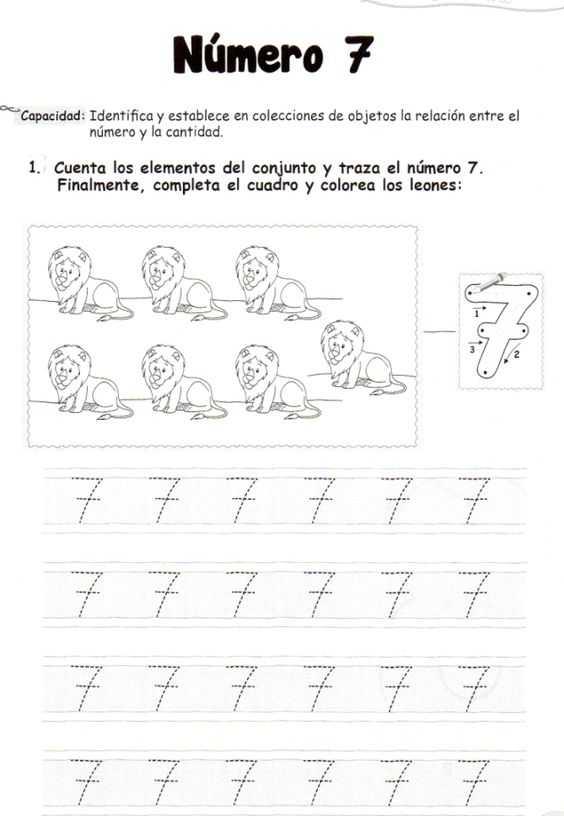 Okul Öncesi 7 Rakamı İle İlgili Çizgi Çalışmaları
