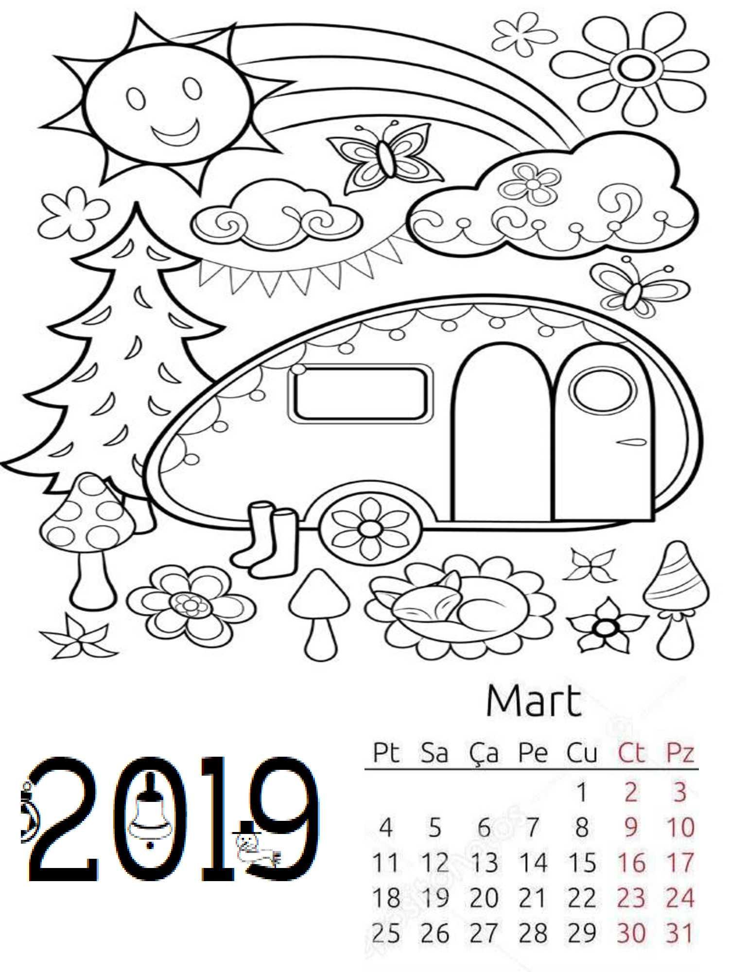 Okul Öncesi 2019 Boyama Sayfalı Takvim (Aylık)