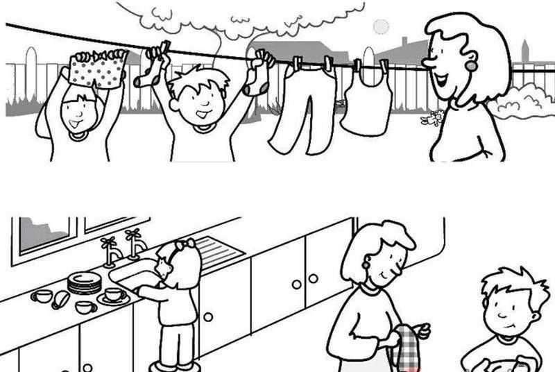 Ev Isleri Boyama Sayfasi 3 Okul Oncesi Etkinlik Faliyetleri