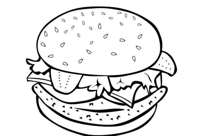 Okul öncesi Hamburger Boyama Sayfaları Okul öncesi Etkinlik