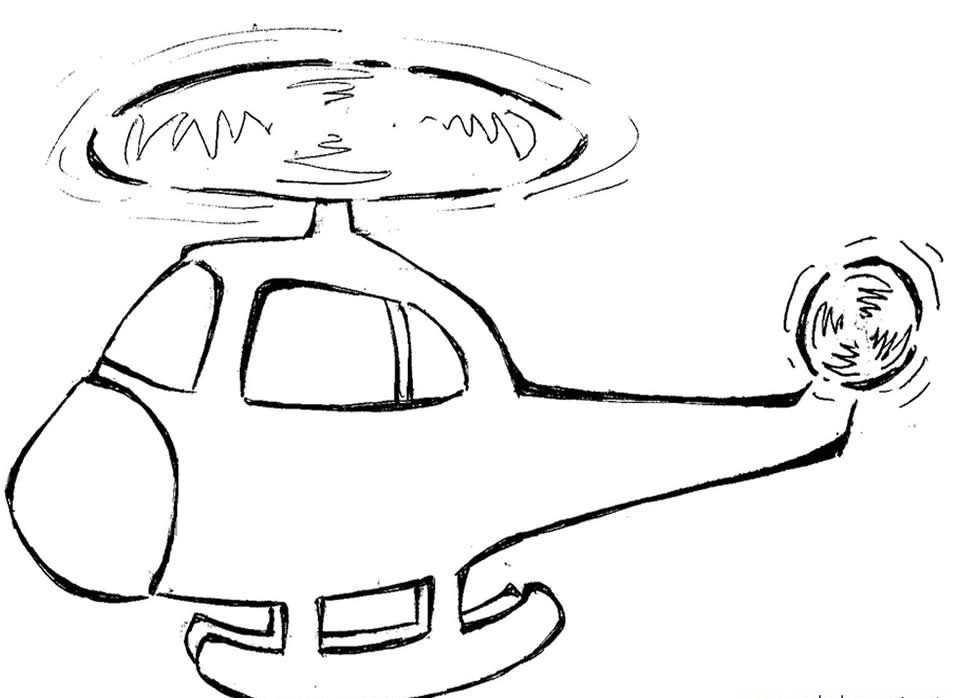 Okul öncesi Helikopter Boyama Sayfaları Okul öncesi Etkinlik