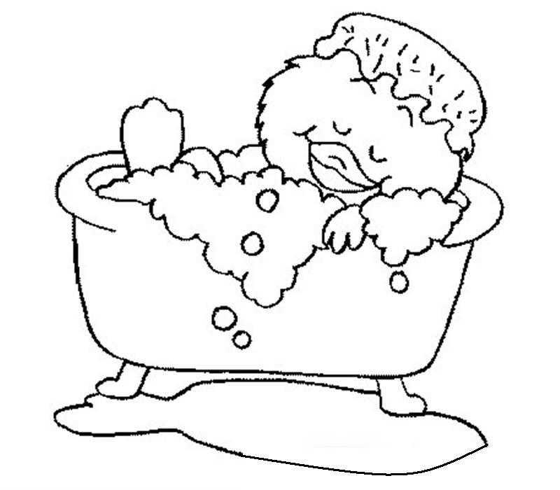 Banyo Yapma Boyama Sayfası Okul öncesi Etkinlik Faliyetleri