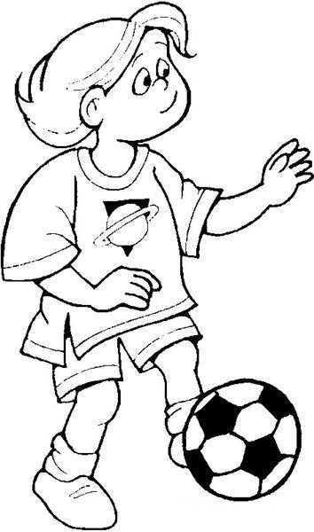 Futbo Oynayan çocuk Boyama Sayfası Okul öncesi Etkinlik