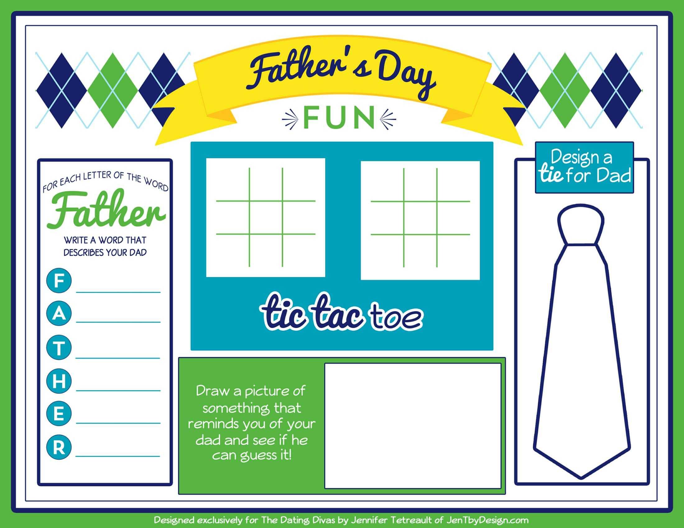 Fathers Day Placemat 8 5 11 2 Okul Oncesi Etkinlik Faliyetleri