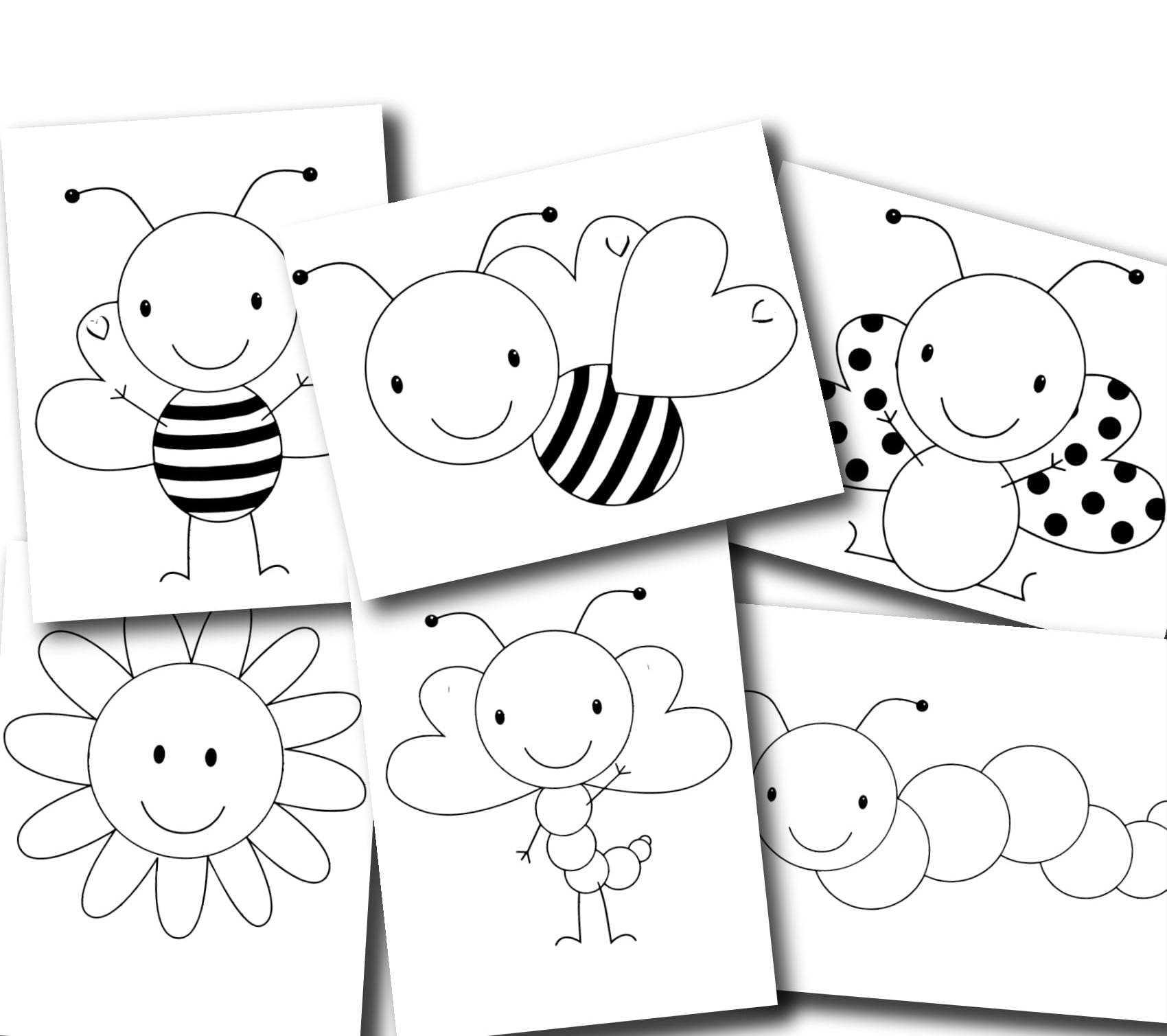 Sevimli Arı Ve Kelebekler Boyama Sayfaları Yeni Okul öncesi