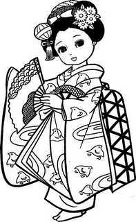 Japon Kiyafeti Boyama Sayfasi Okul Oncesi Etkinlik Faliyetleri