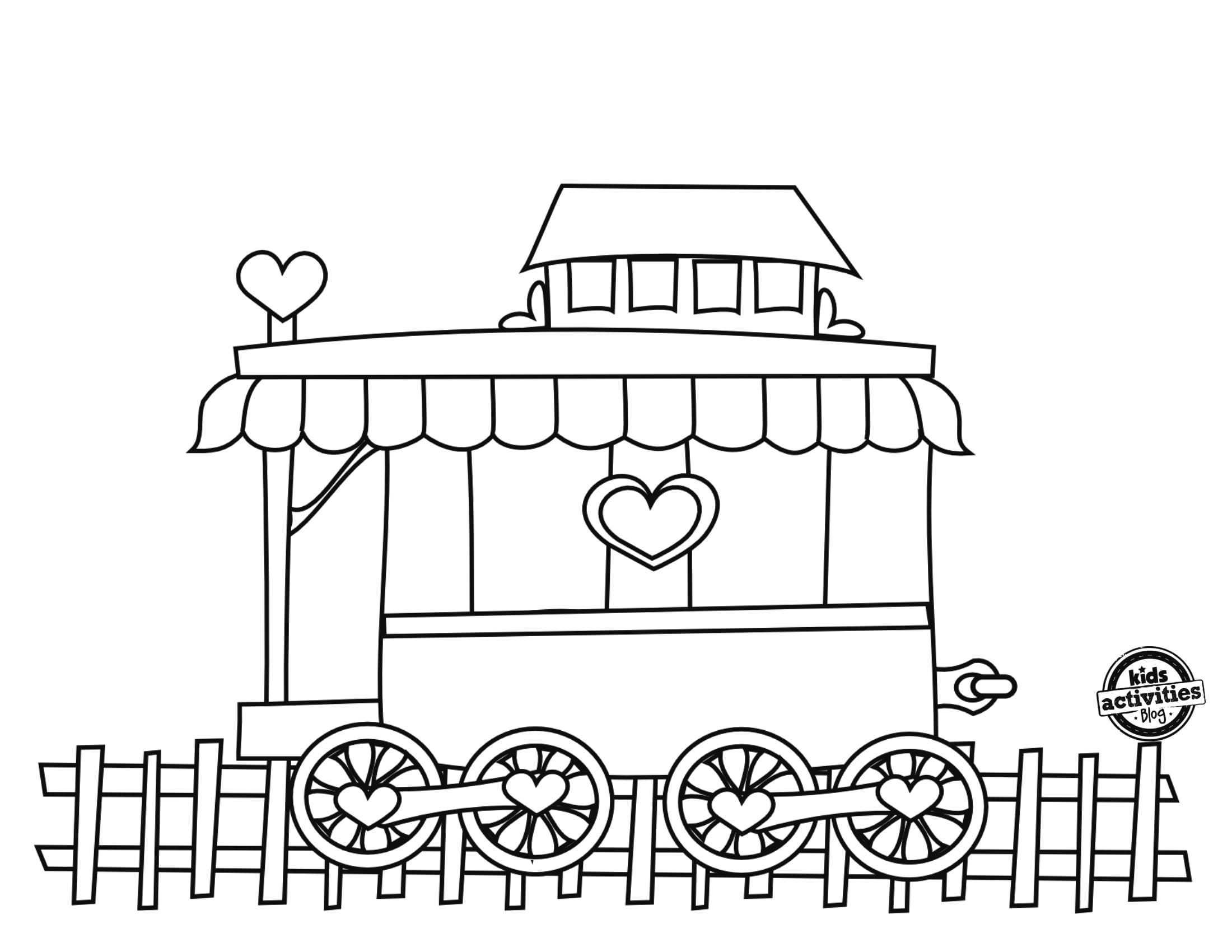 Okul Oncesi Sevgi Treni Boyama Sayfasi 3 Okul Oncesi Etkinlik