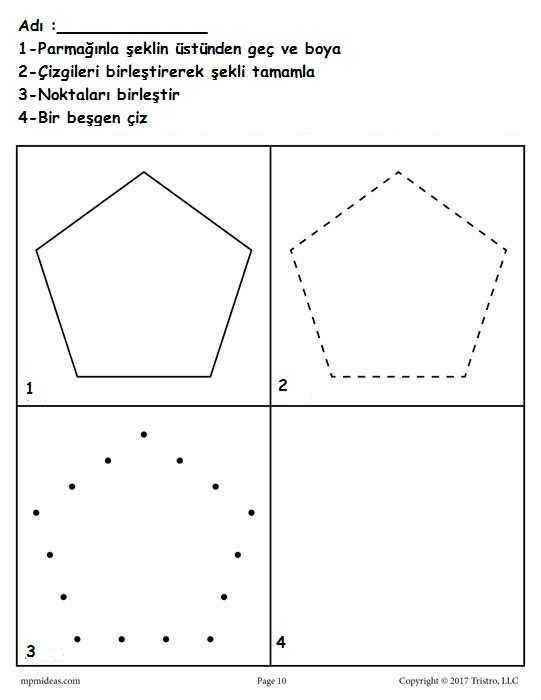 Okul Oncesi Besgen Geometrik Sekil Calisma Sayfalari Okul Oncesi