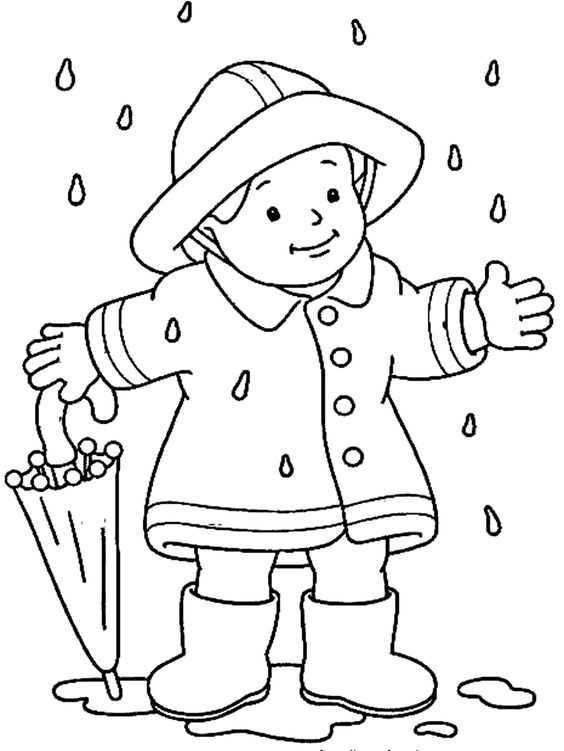 Okul öncesi Yağmurlu Sonbahar Boyama Sayfaları Okul öncesi
