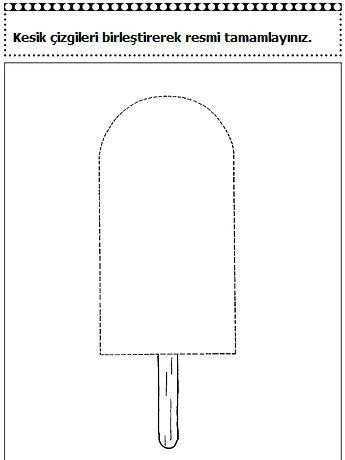 Okul Öncesi Dondurma Çizgi Çalışma Sayfaları