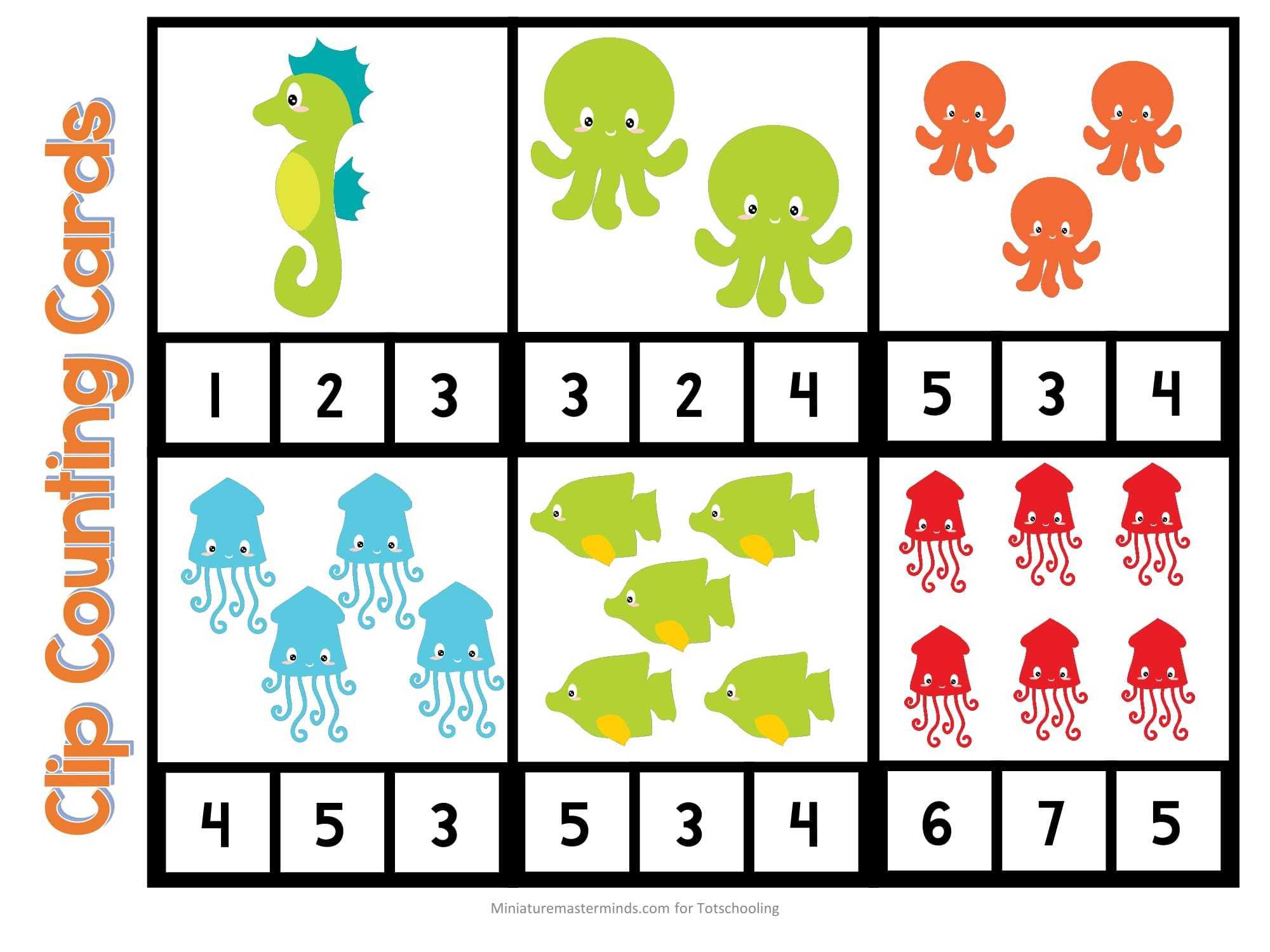 Deniz canlıları sayılar görsel kartları