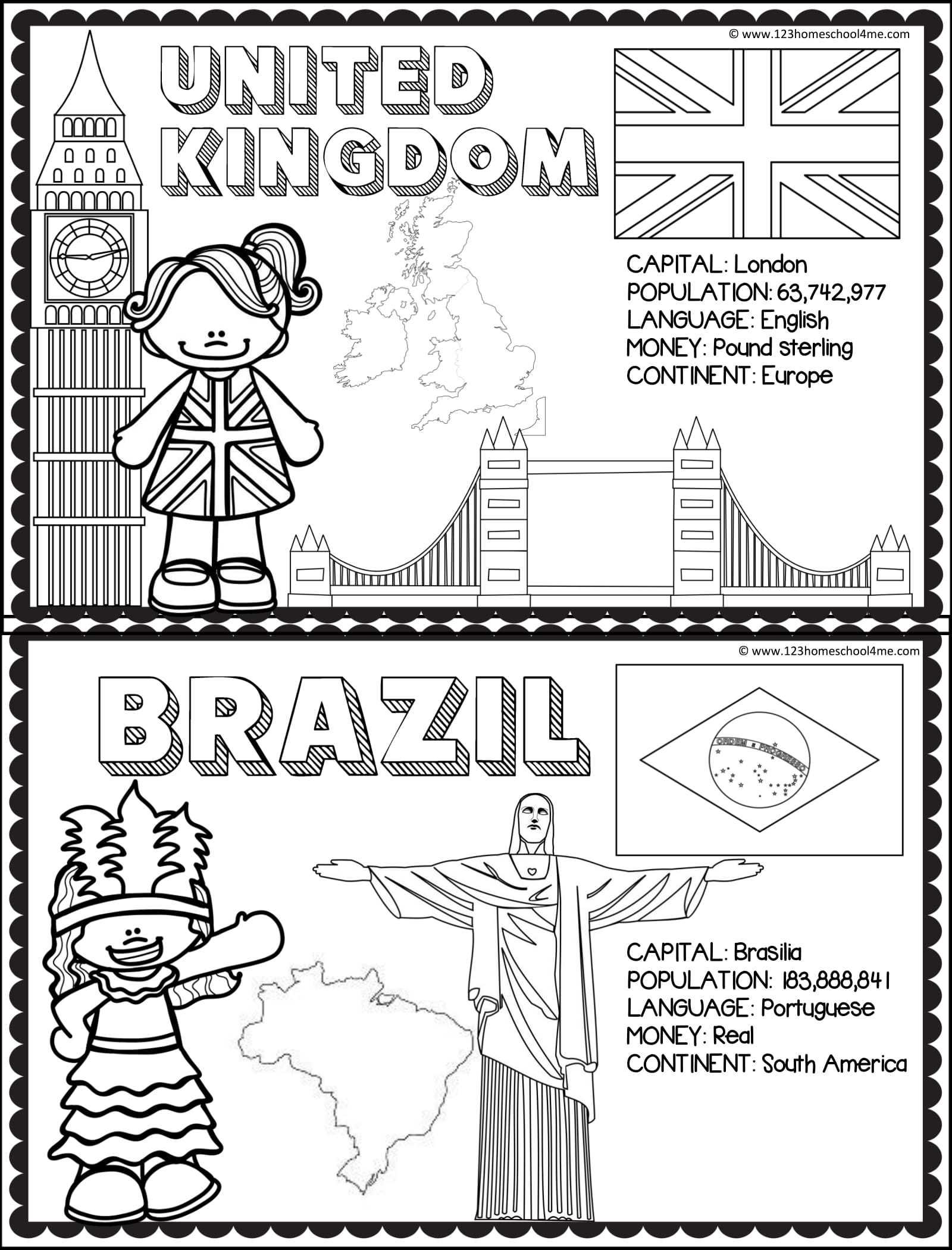 Ülkeleri Tanıyalım Boyama Sayfaları (Turizm Haftası)