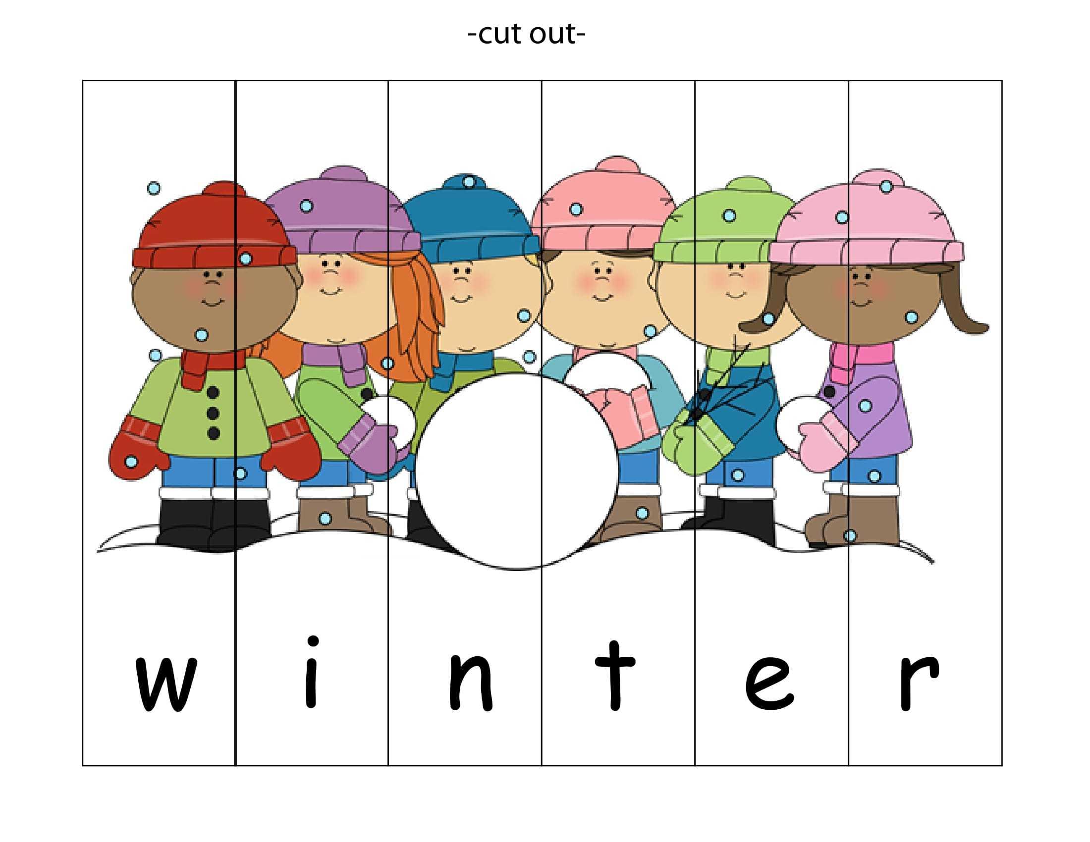 Kış Mevsimi İle İlgili Renkli Sayı Puzzle Kalıbı