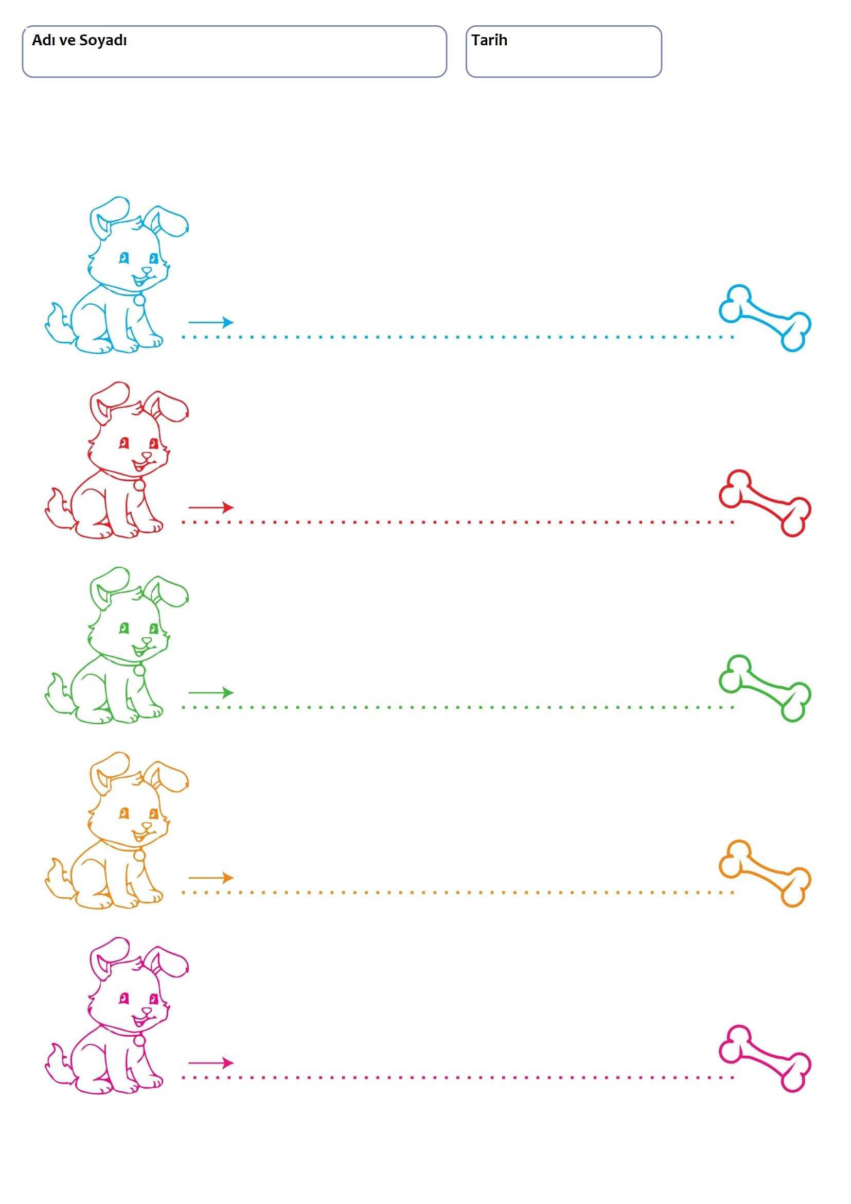 3+ Yaş Çocuklar İçin Çizgi Çalışma Sayfaları