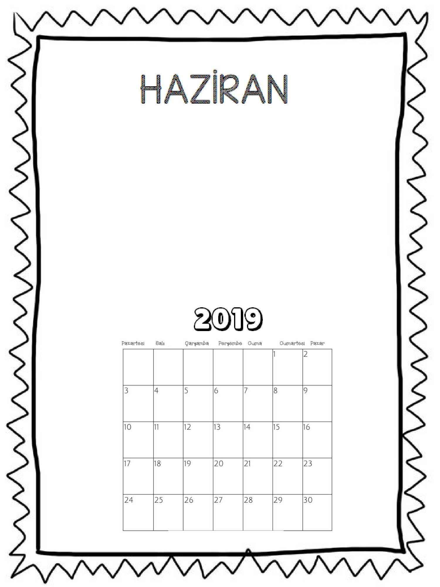 2019 Okul Öncesi Çizimli Takvim (Aylık)