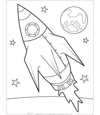 Roket Boyama Sayfasi Okul Oncesi Etkinlik Faliyetleri