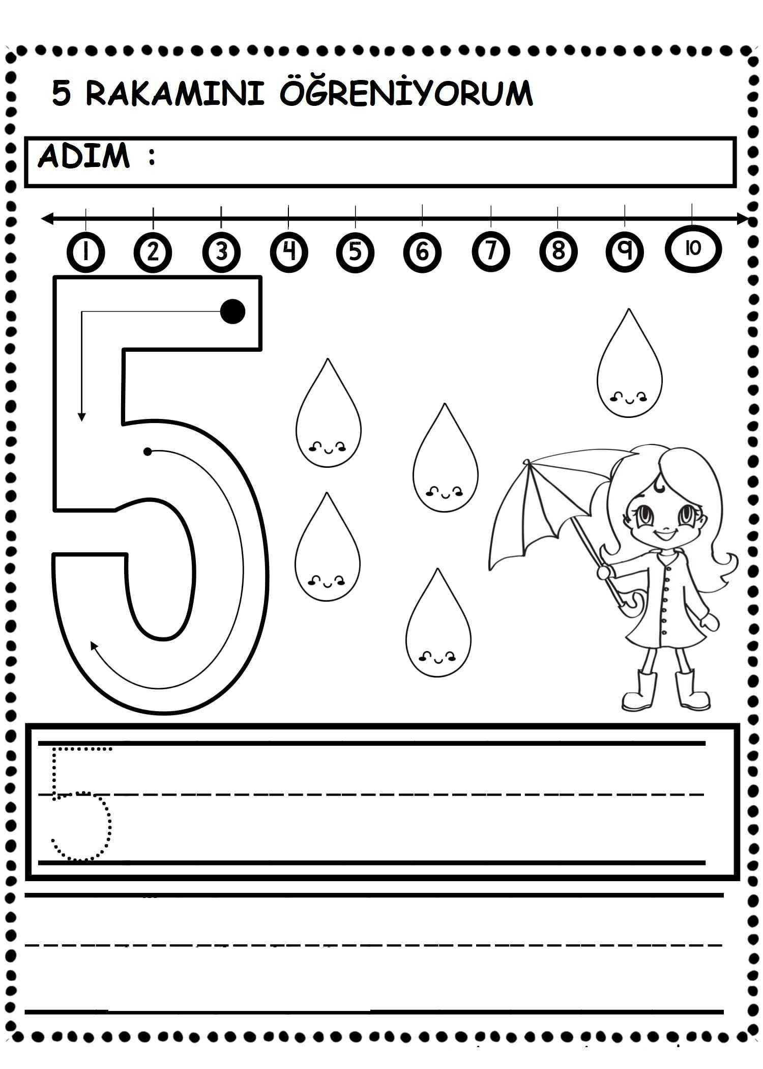 5 Rakami Calisma Sayfasi Okul Oncesi Etkinlik Faliyetleri